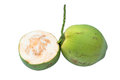 Green coconuts over white background Royalty Free Stock Photos