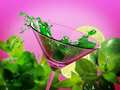 Green coctail splash Royalty Free Stock Photo