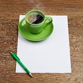 Green coffee cup on white blank see my other works in portfolio Royalty Free Stock Photography