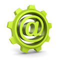 Green cogwheel gear with e-mail at symbol Royalty Free Stock Photo