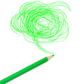 Green colored pencil drawing Royalty Free Stock Photo