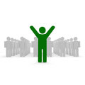 Green coloured man with hands up Stock Photo