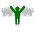 Green coloured man with hands up Royalty Free Stock Images