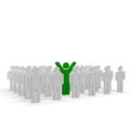 Green coloured man with hands up Royalty Free Stock Photography