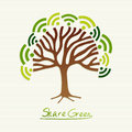 Green concept tree save the earth idea with share icon set this illustration is layered for easy manipulation and custom coloring Royalty Free Stock Images