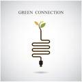 Green connection concept green environment sign education and business idea vector illustration Stock Photos