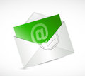 Green contact us email illustration design over a white background Royalty Free Stock Image