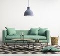 Green contemporary modern sofa rendering of a Stock Image