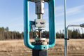 A green control valve on gas line Royalty Free Stock Photo