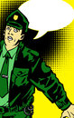 Green cop with speech bubble comic book style illustrated Royalty Free Stock Photo