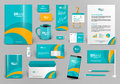Green corporate identity template with orange element. Best for travel, hotel company