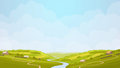 Green countryside view illustration. Royalty Free Stock Photo