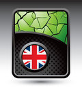 Green cracked backdrop with british flag Stock Photos