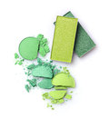 Green crashed eyeshadow for make up as sample of cosmetics product