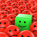 Green cube smiley happy Royalty Free Stock Photography