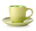 Green cup and saucer Stock Images