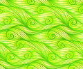Green curled vector waves seamless pattern doodles Royalty Free Stock Photo
