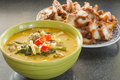Green curry chicken intense soup thailand food Royalty Free Stock Image