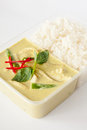 Green curry popular curry dish thai cuisine take away box rice Royalty Free Stock Images
