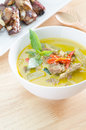 Green curry with pork and spare ribs bake Royalty Free Stock Photo