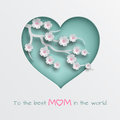 Green cuted heart decorated branch of cherry flowers on white background for mother`s day or women's day greeting card