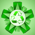 Green 3D shape layout with recycle sign vector Royalty Free Stock Photo