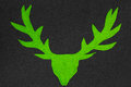 Green deer with antler made of felt Royalty Free Stock Photography