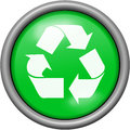 Green design recycling in round 3D button Royalty Free Stock Photo