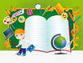 Green desk with school supplies boy and Royalty Free Stock Photography