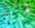 Green desktop background with different icons for designers for various necessities Stock Image