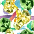 Green diamond rock jewelry mineral. Seamless background pattern. Royalty Free Stock Photo