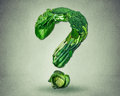 Green diet questions concept resh fruit vegetables Royalty Free Stock Photo