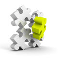 Green different piece of white puzzle group Royalty Free Stock Photo