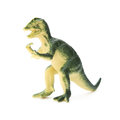 Green Dilophosaurus toy on white background Royalty Free Stock Photo