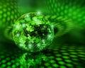 Green disco ball globe