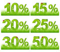 Green Discount Figures In Grass. Vector Royalty Free Stock Photo