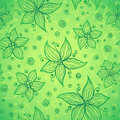 Green doodle flowers vector seamless pattern Royalty Free Stock Photography