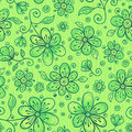 Green doodle flowers vector seamless pattern Stock Photo