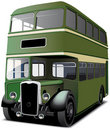 Green double decker bus Stock Photo