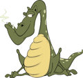Green dragon cartoon the big with white canines Stock Photography