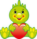 Green dragon with heart Stock Photo
