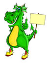 Green dragon holding a placard and showing sign of all good Royalty Free Stock Image