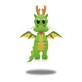 Green dragon for illustration cute cartoon of paper cut Royalty Free Stock Photo