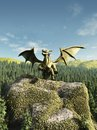 Green dragon perched on a rock large rocky outcrop above forest d digitally rendered illustration Stock Image
