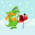 Green dragon-postman with letters Royalty Free Stock Images