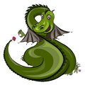 Green dragon with strawberry Royalty Free Stock Photo