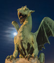 Green dragon with super-moon Royalty Free Stock Photo