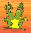 Green dragon twins simple vector drawing of angry and happy Royalty Free Stock Photo