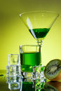 Green drink with ice cubes Stock Photography