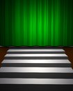 Green drop scene illustration of curtain call and stairs Stock Images